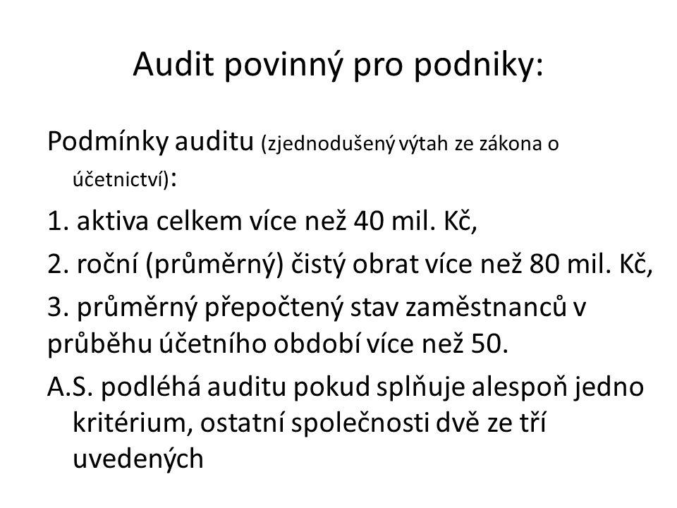 Audit povinný pro podniky: