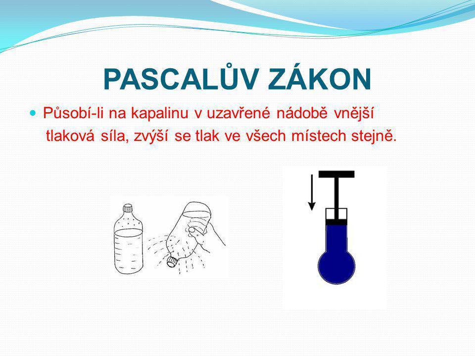 PASCALŮV ZÁKON Působí-li na kapalinu v uzavřené nádobě vnější