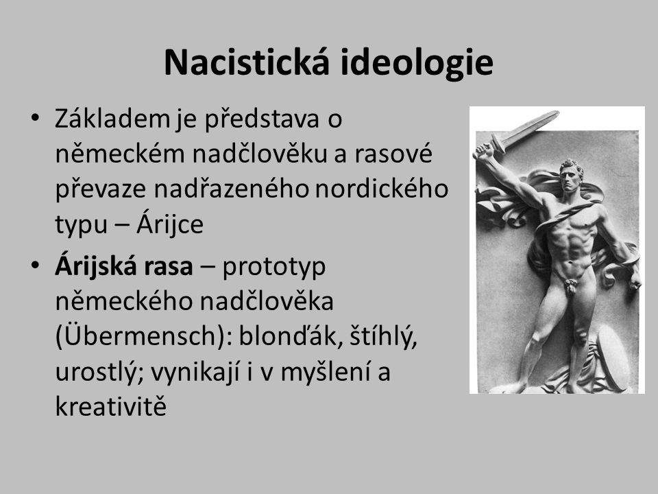 Nacistická ideologie Základem je představa o německém nadčlověku a rasové převaze nadřazeného nordického typu – Árijce.