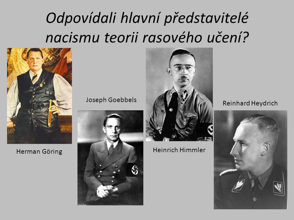 Odpovídali hlavní představitelé nacismu teorii rasového učení