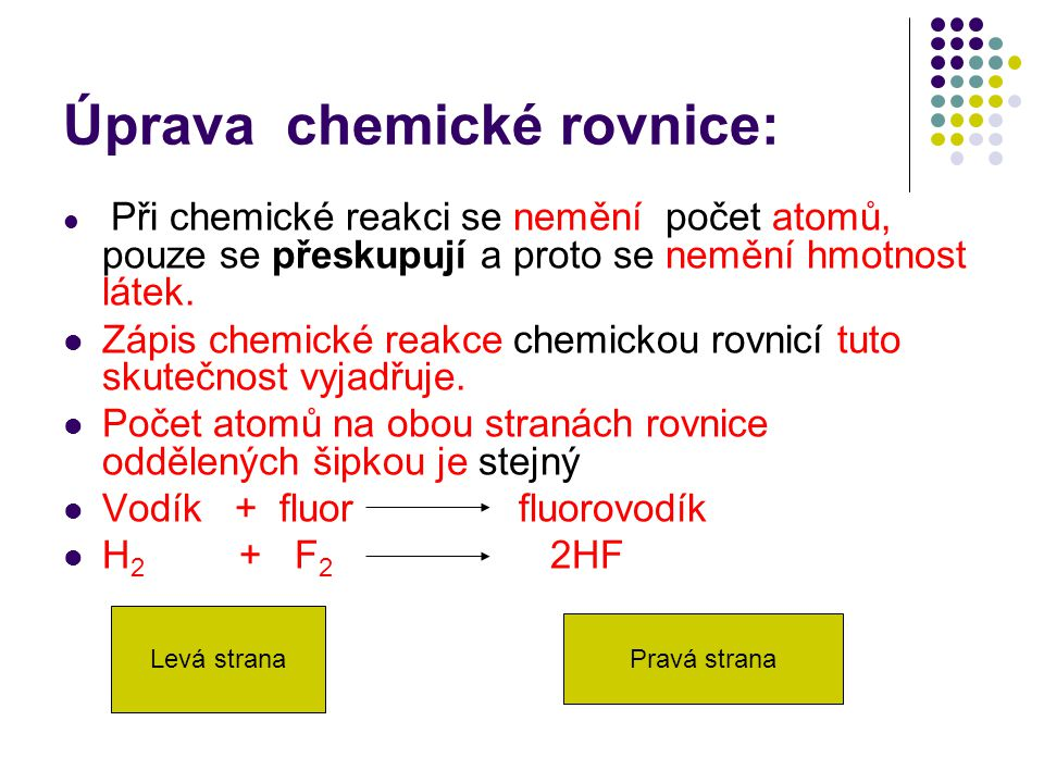 Úprava chemické rovnice: