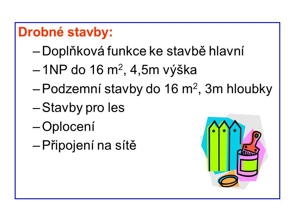 Drobné stavby: Doplňková funkce ke stavbě hlavní. 1NP do 16 m2, 4,5m výška. Podzemní stavby do 16 m2, 3m hloubky.