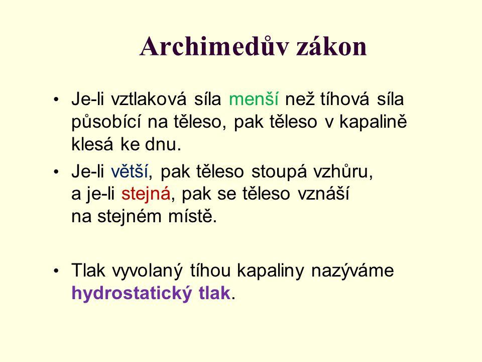 Archimedův zákon Je-li vztlaková síla menší než tíhová síla působící na těleso, pak těleso v kapalině klesá ke dnu.