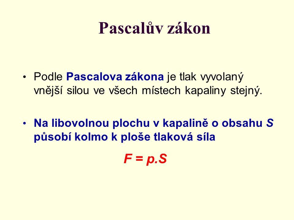 Pascalův zákon Podle Pascalova zákona je tlak vyvolaný vnější silou ve všech místech kapaliny stejný.