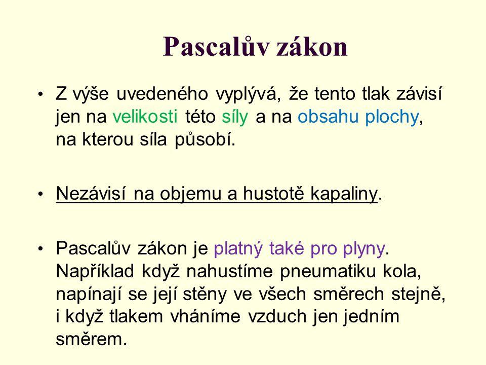 Pascalův zákon Z výše uvedeného vyplývá, že tento tlak závisí jen na velikosti této síly a na obsahu plochy, na kterou síla působí.