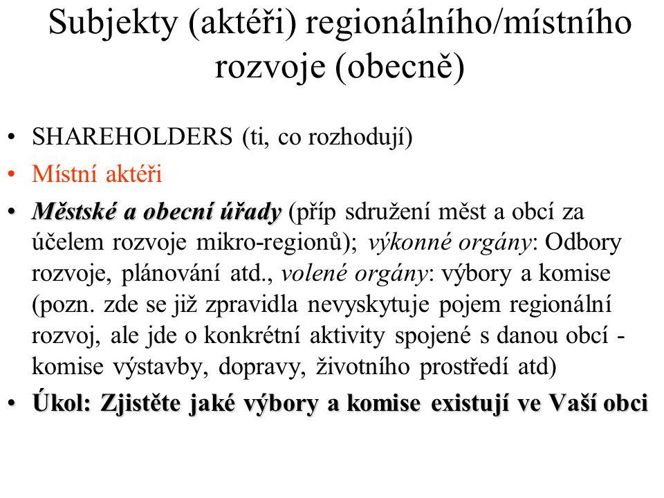 Subjekty (aktéři) regionálního/místního rozvoje (obecně)