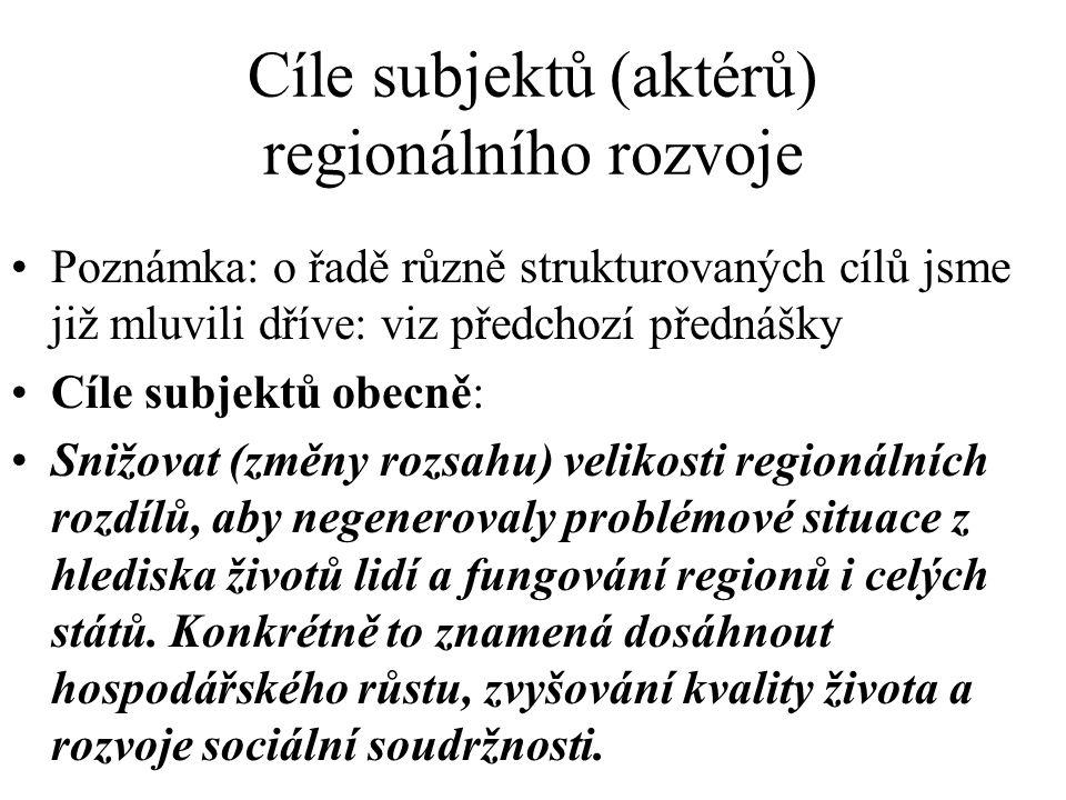 Cíle subjektů (aktérů) regionálního rozvoje