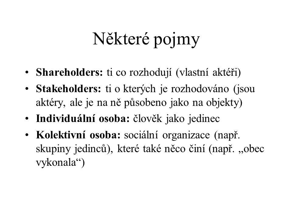 Některé pojmy Shareholders: ti co rozhodují (vlastní aktéři)