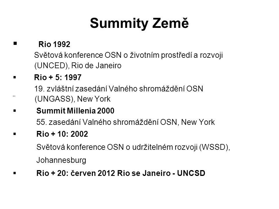 Summity Země Rio 1992. Světová konference OSN o životním prostředí a rozvoji. (UNCED), Rio de Janeiro.