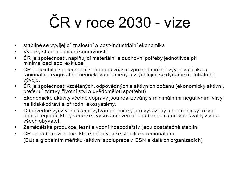 ČR v roce 2030 - vize stabilně se vyvíjející znalostní a post-industriální ekonomika. Vysoký stupeň sociální soudržnosti.