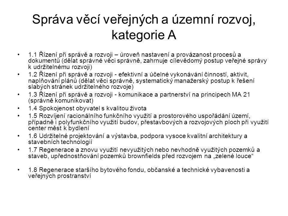 Správa věcí veřejných a územní rozvoj, kategorie A