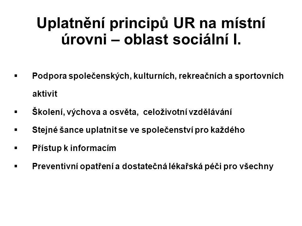Uplatnění principů UR na místní úrovni – oblast sociální I.