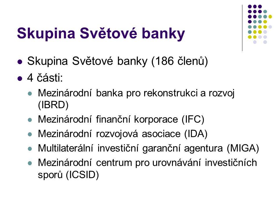 Skupina Světové banky Skupina Světové banky (186 členů) 4 části: