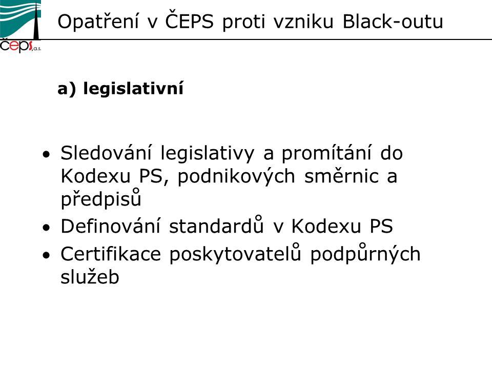 Opatření v ČEPS proti vzniku Black-outu a) legislativní