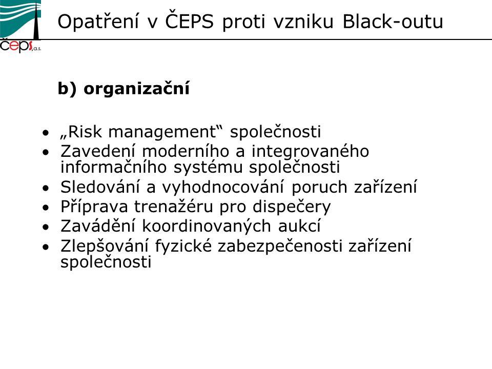 Opatření v ČEPS proti vzniku Black-outu b) organizační