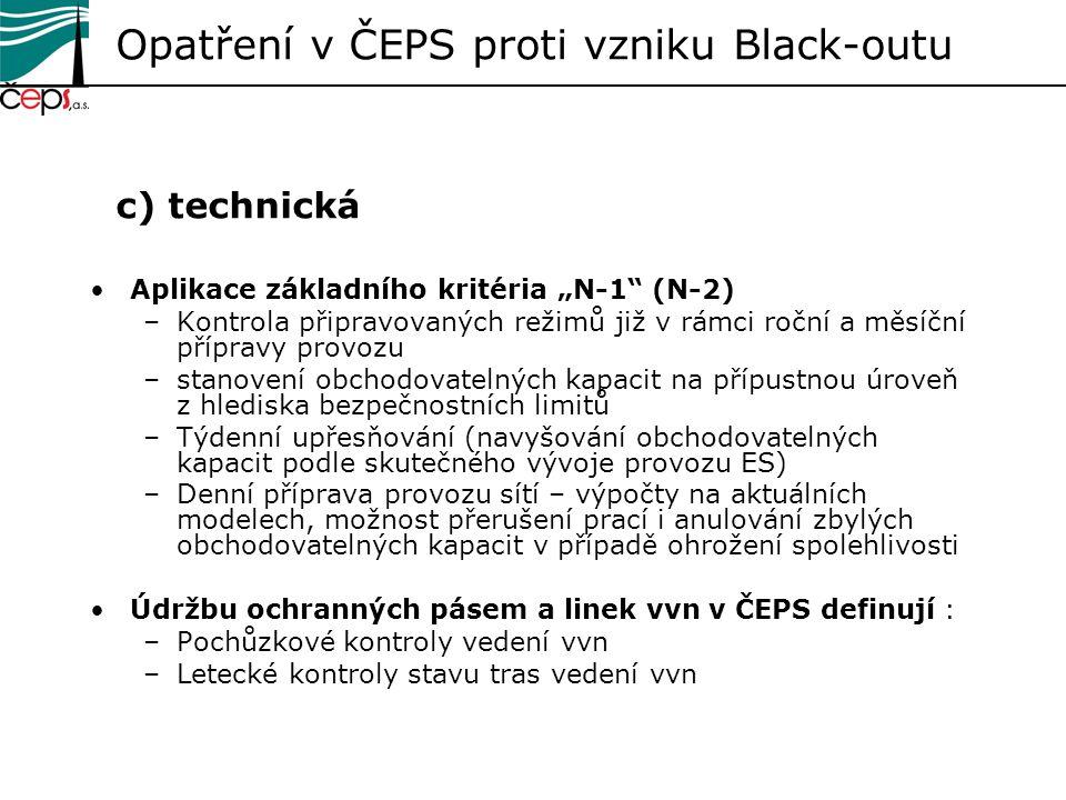 Opatření v ČEPS proti vzniku Black-outu c) technická