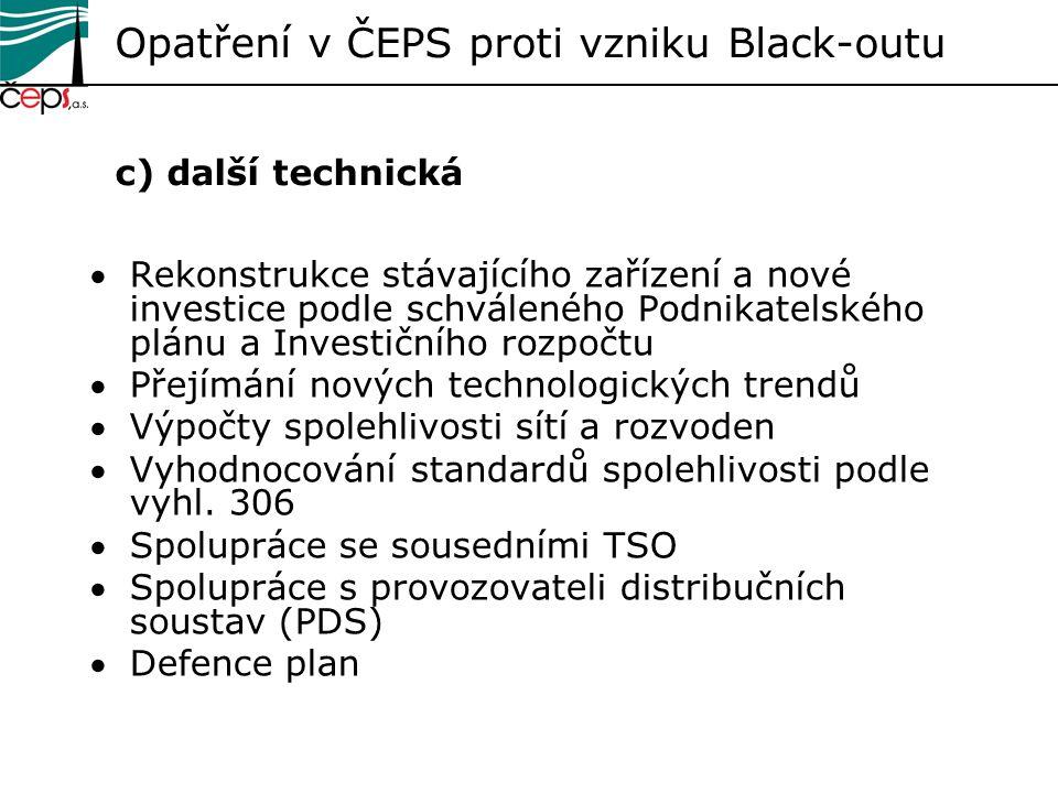 Opatření v ČEPS proti vzniku Black-outu c) další technická