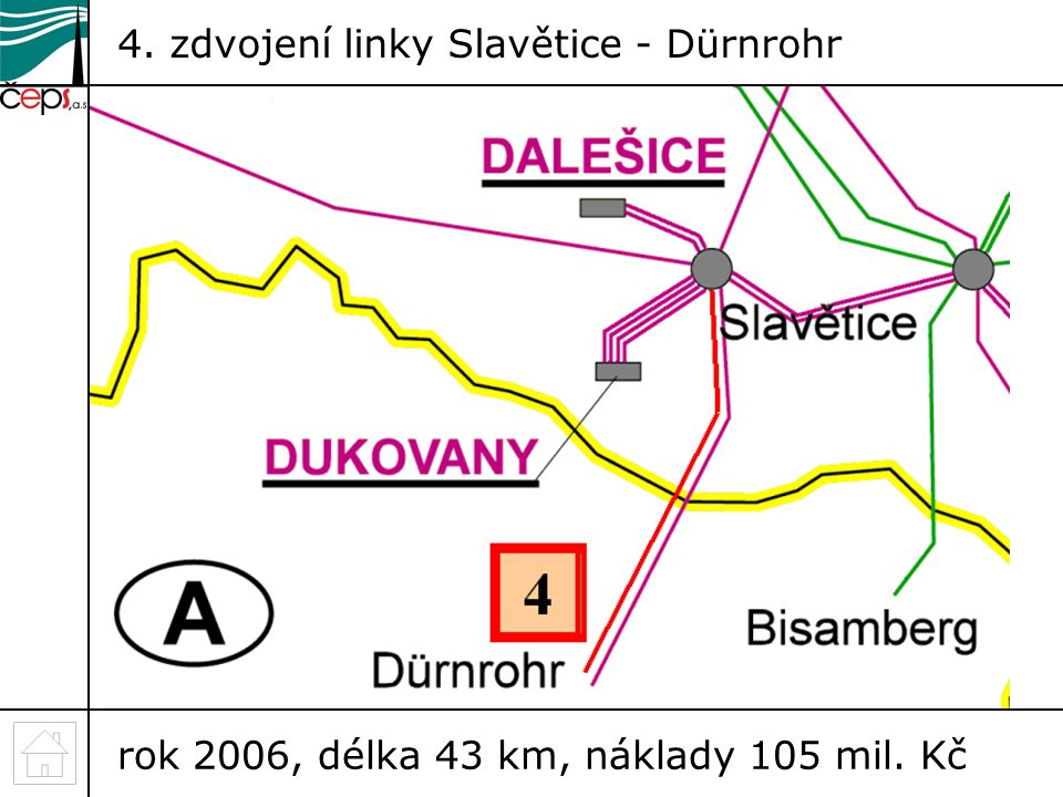 4. zdvojení linky Slavětice - Dürnrohr