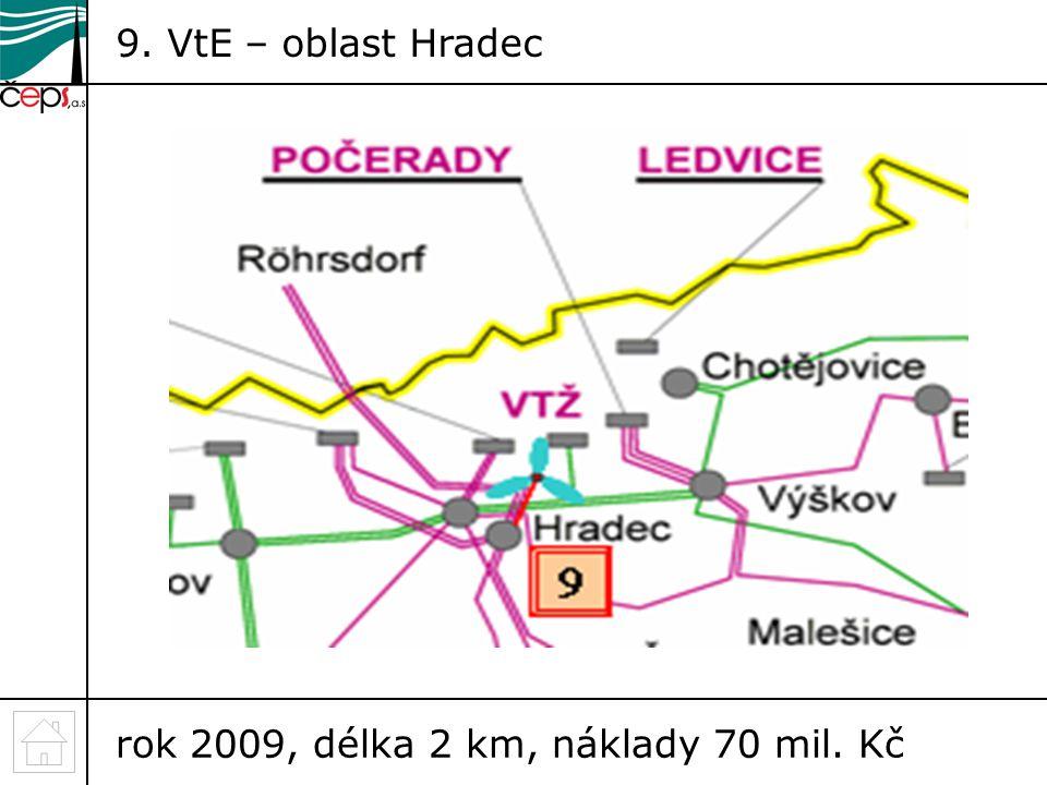 9. VtE – oblast Hradec rok 2009, délka 2 km, náklady 70 mil. Kč