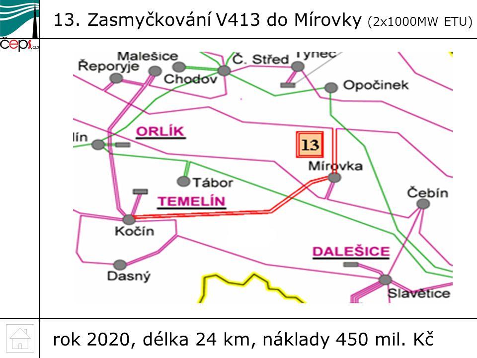 13. Zasmyčkování V413 do Mírovky (2x1000MW ETU)