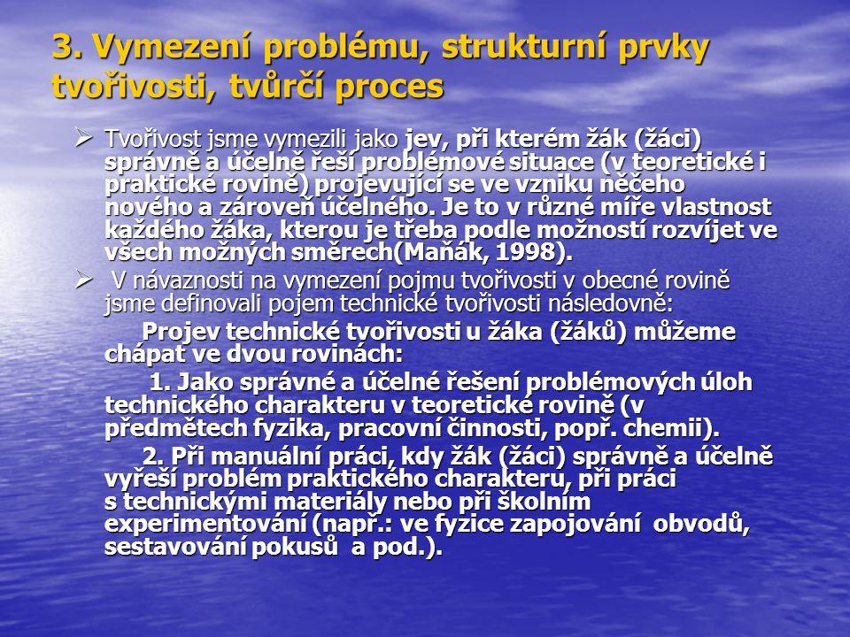 3. Vymezení problému, strukturní prvky tvořivosti, tvůrčí proces