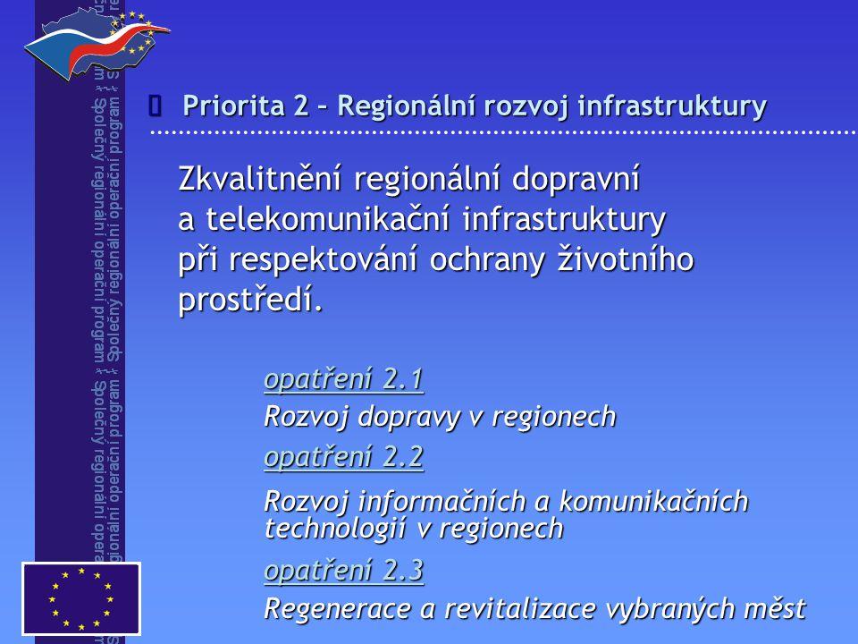 î Priorita 2 – Regionální rozvoj infrastruktury.