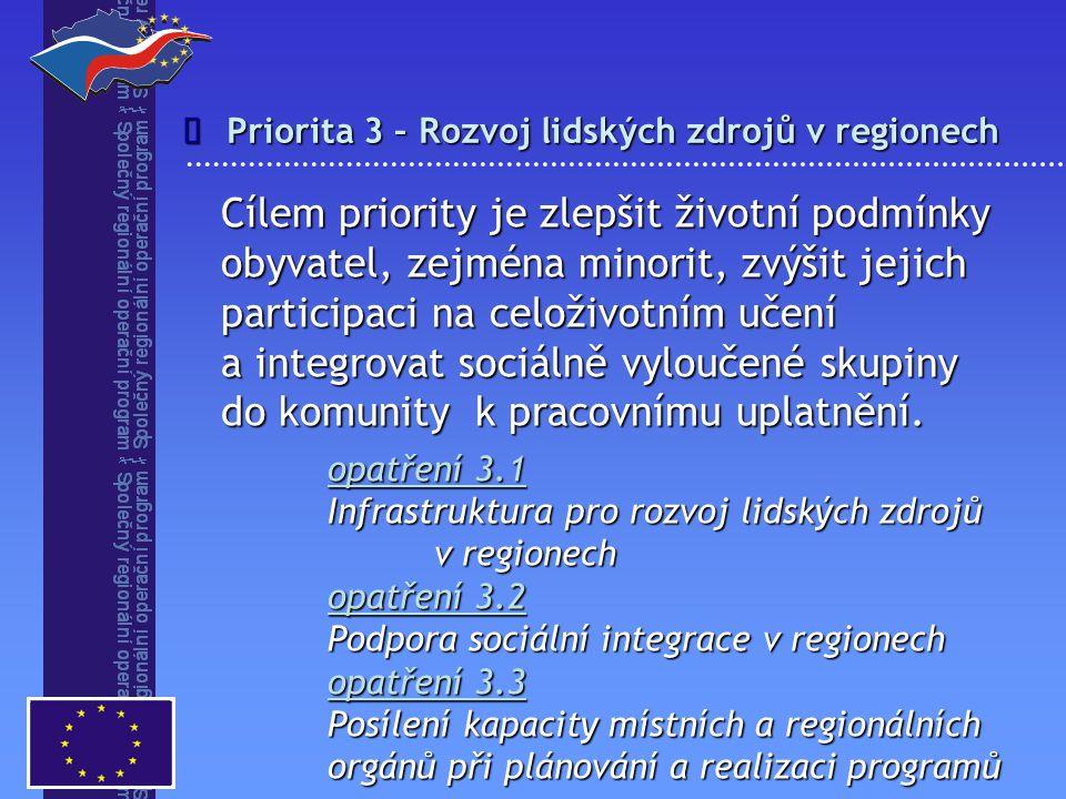 î Priorita 3 – Rozvoj lidských zdrojů v regionech.