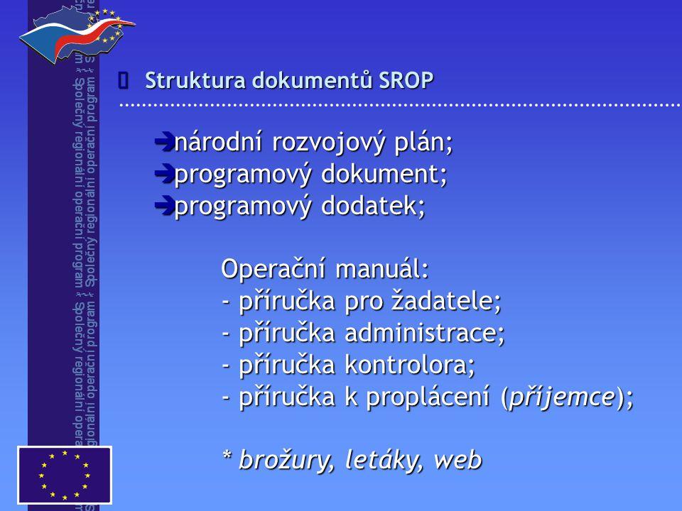 národní rozvojový plán; programový dokument; programový dodatek;