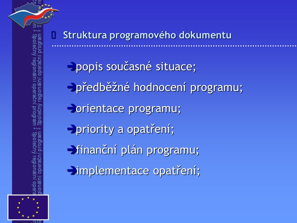 popis současné situace; předběžné hodnocení programu;