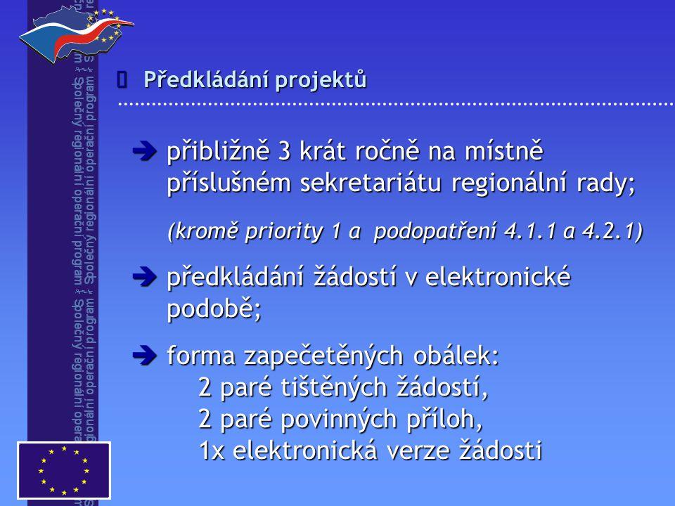 (kromě priority 1 a podopatření 4.1.1 a 4.2.1)