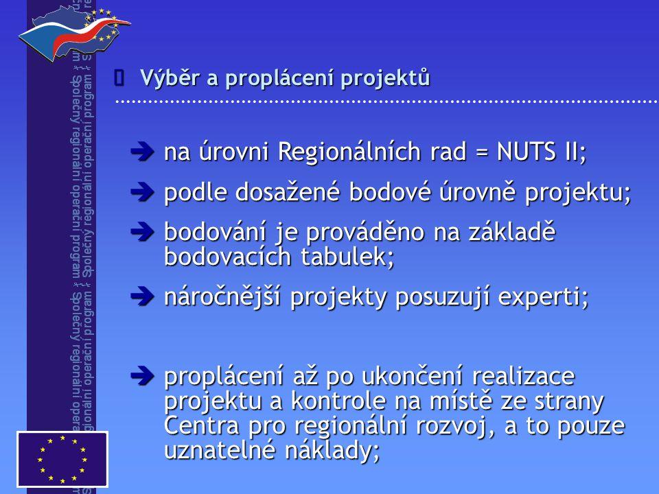 na úrovni Regionálních rad = NUTS II;