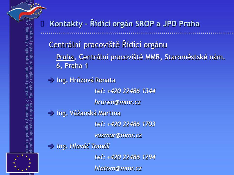 Kontakty - Řídící orgán SROP a JPD Praha