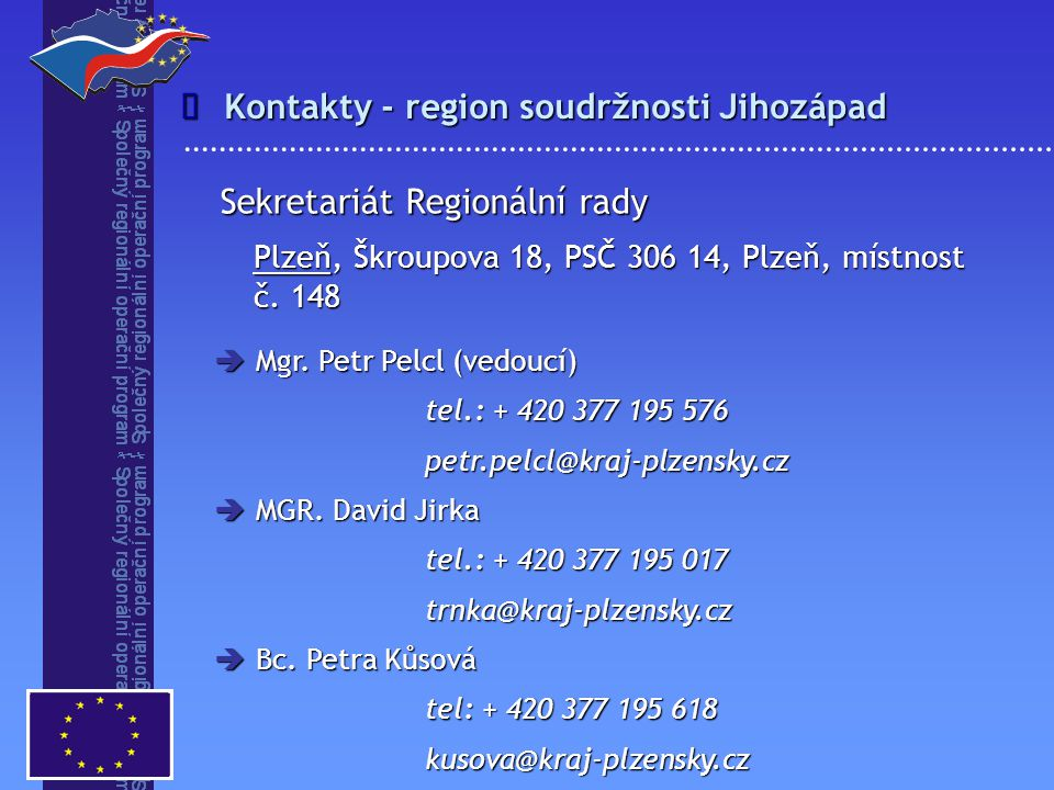 Kontakty - region soudržnosti Jihozápad
