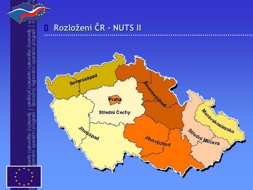 î Rozložení ČR - NUTS II