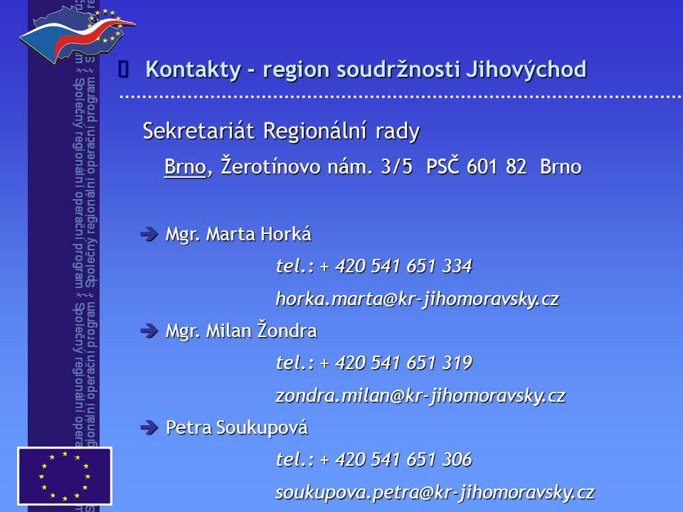 Kontakty - region soudržnosti Jihovýchod