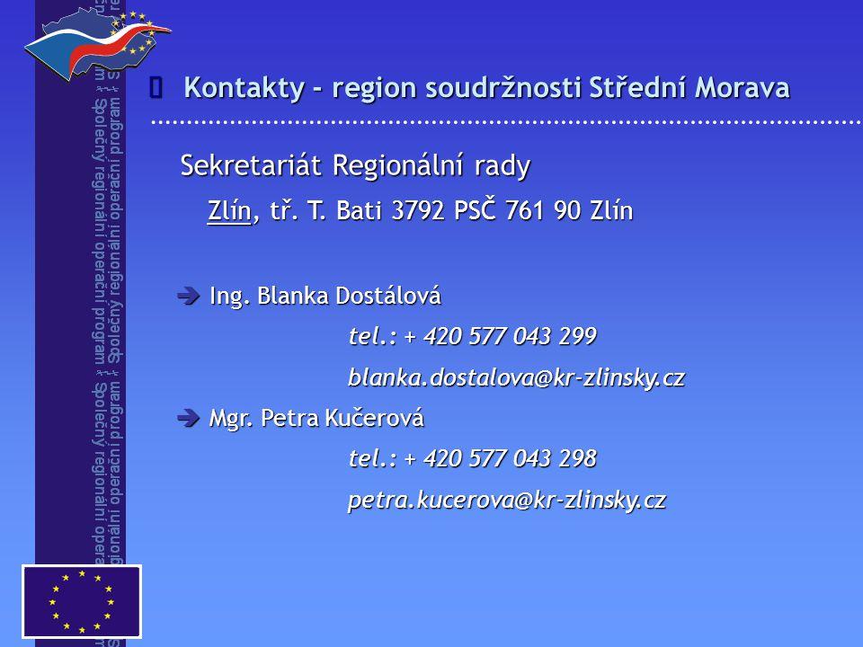 Kontakty - region soudržnosti Střední Morava
