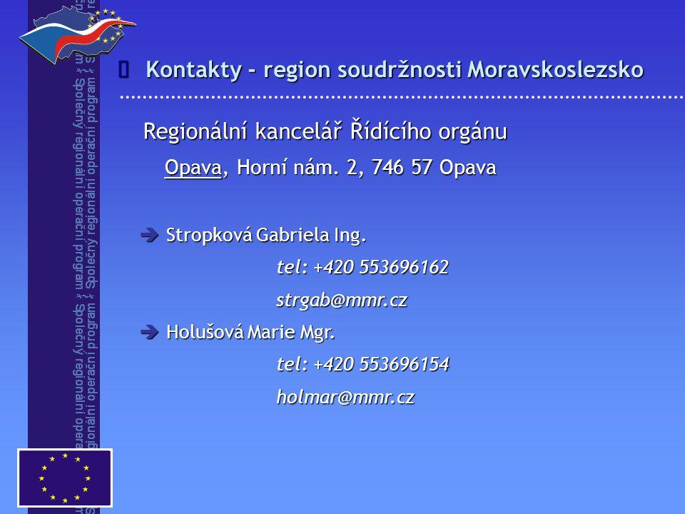 Kontakty - region soudržnosti Moravskoslezsko