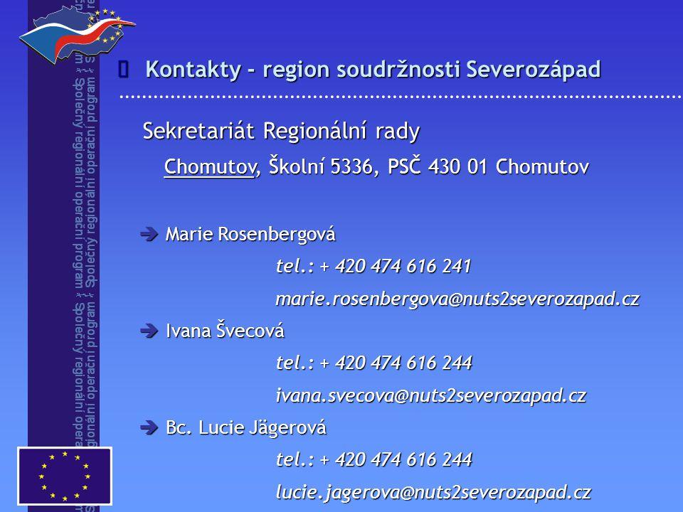 Kontakty - region soudržnosti Severozápad