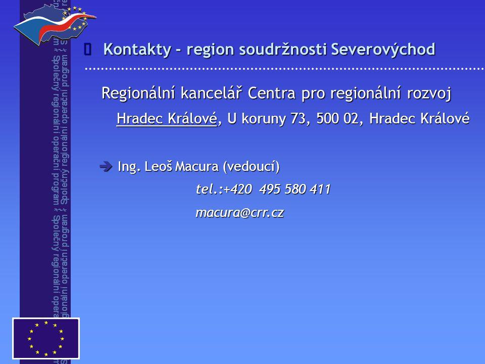 Kontakty - region soudržnosti Severovýchod