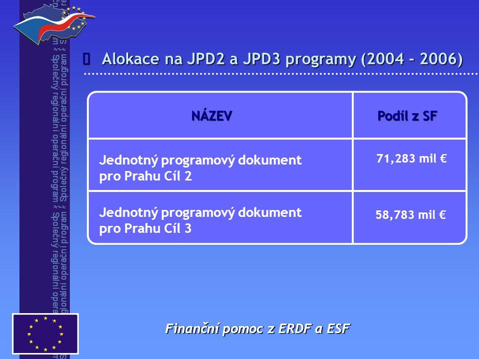 Alokace na JPD2 a JPD3 programy (2004 - 2006)
