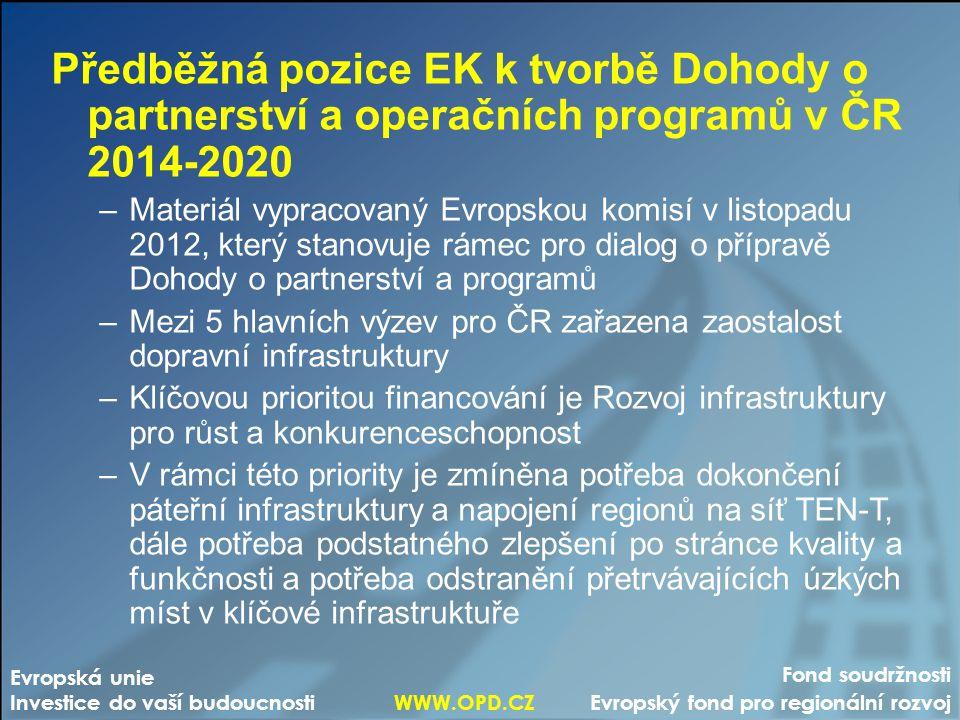 Předběžná pozice EK k tvorbě Dohody o partnerství a operačních programů v ČR 2014-2020