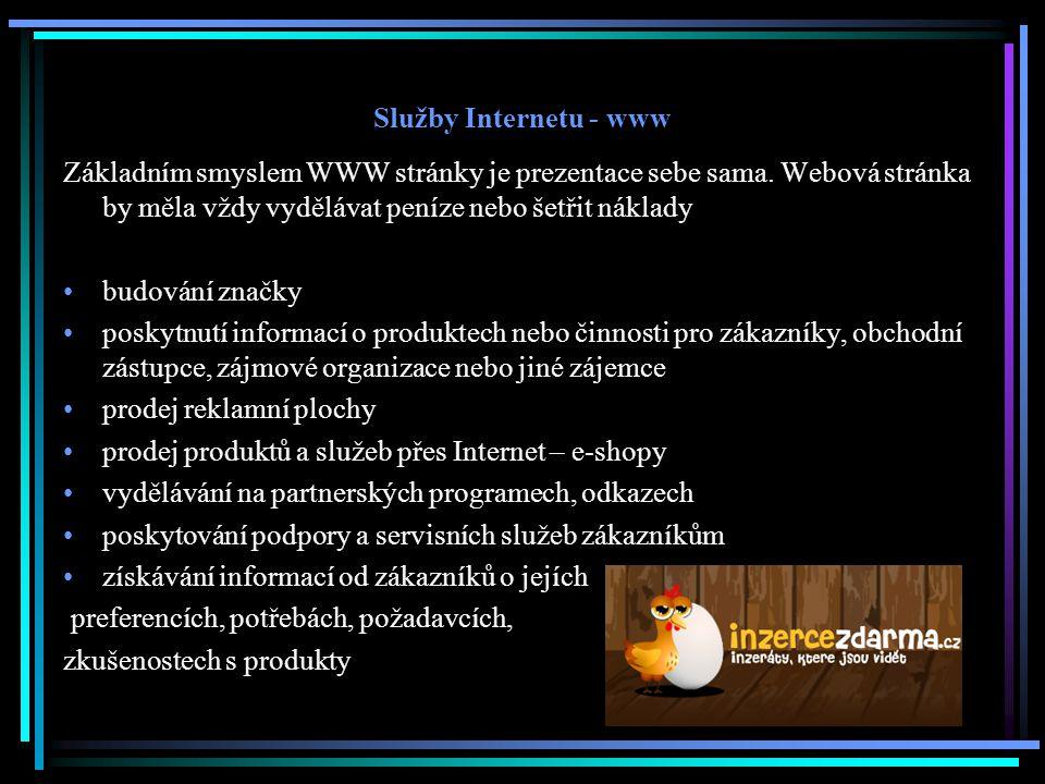 Služby Internetu - www Základním smyslem WWW stránky je prezentace sebe sama. Webová stránka by měla vždy vydělávat peníze nebo šetřit náklady.