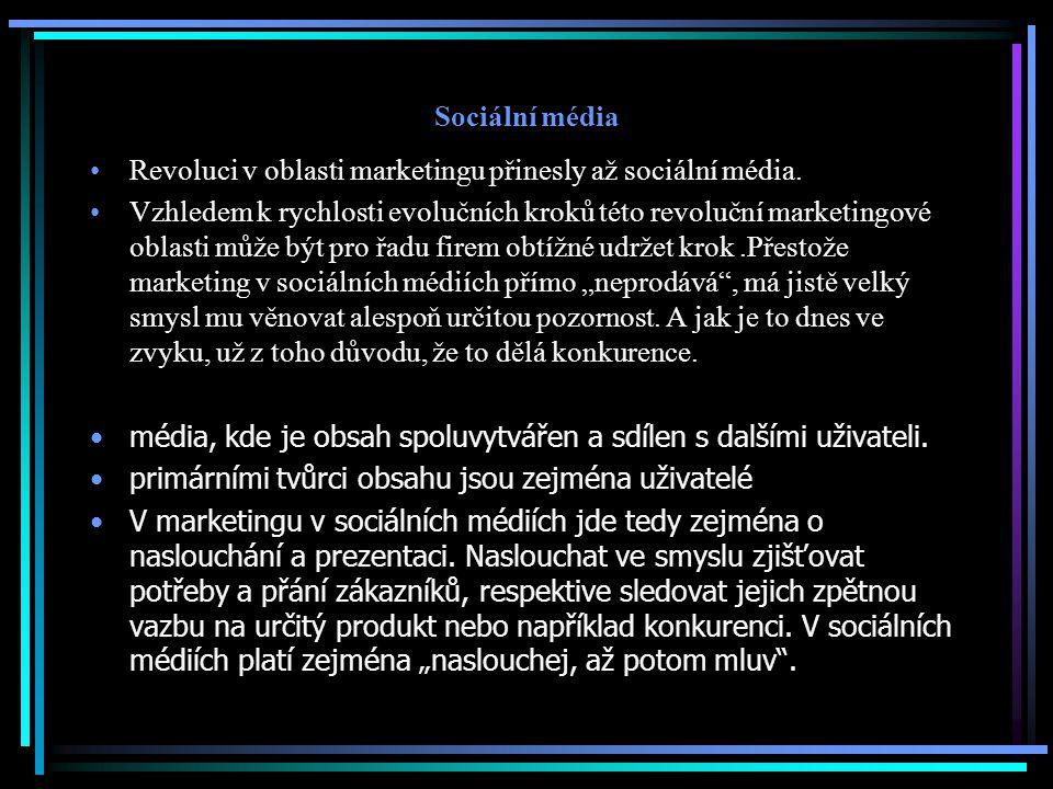 Sociální média Revoluci v oblasti marketingu přinesly až sociální média.