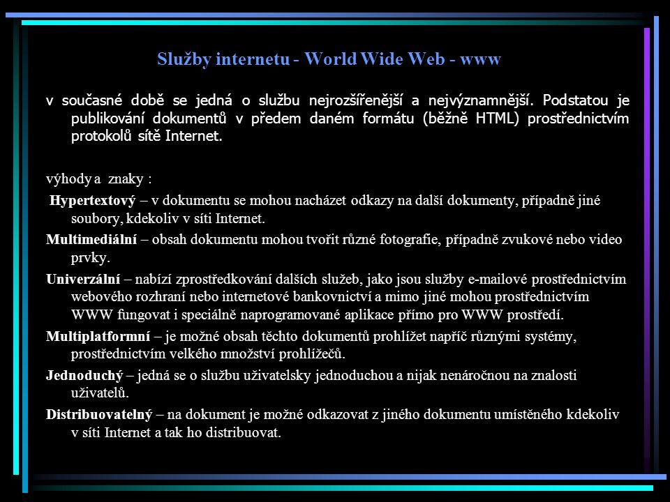Služby internetu - World Wide Web - www
