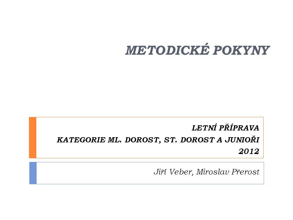 LETNÍ PŘÍPRAVA KATEGORIE ML. DOROST, ST. DOROST A JUNIOŘI 2012