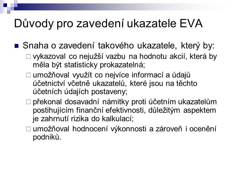 Důvody pro zavedení ukazatele EVA