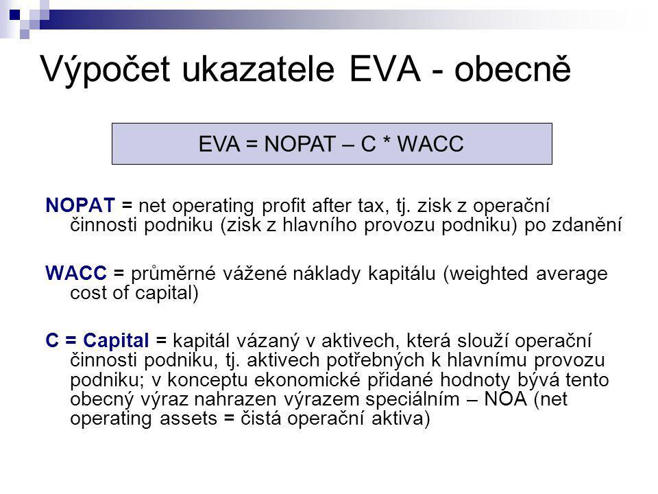 Výpočet ukazatele EVA - obecně
