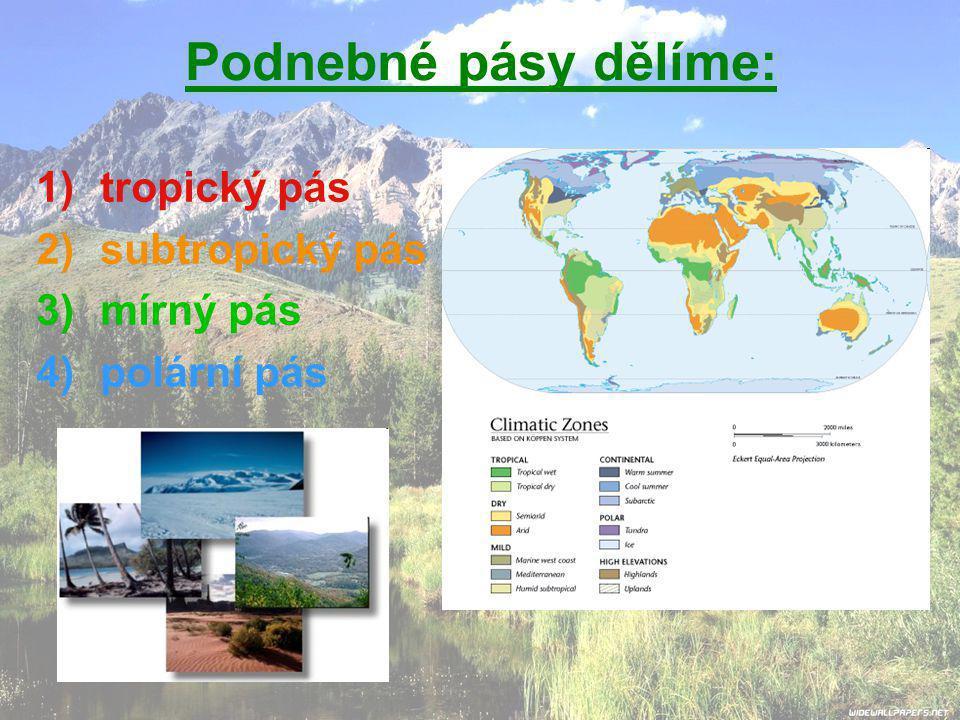Podnebné pásy dělíme: tropický pás subtropický pás mírný pás