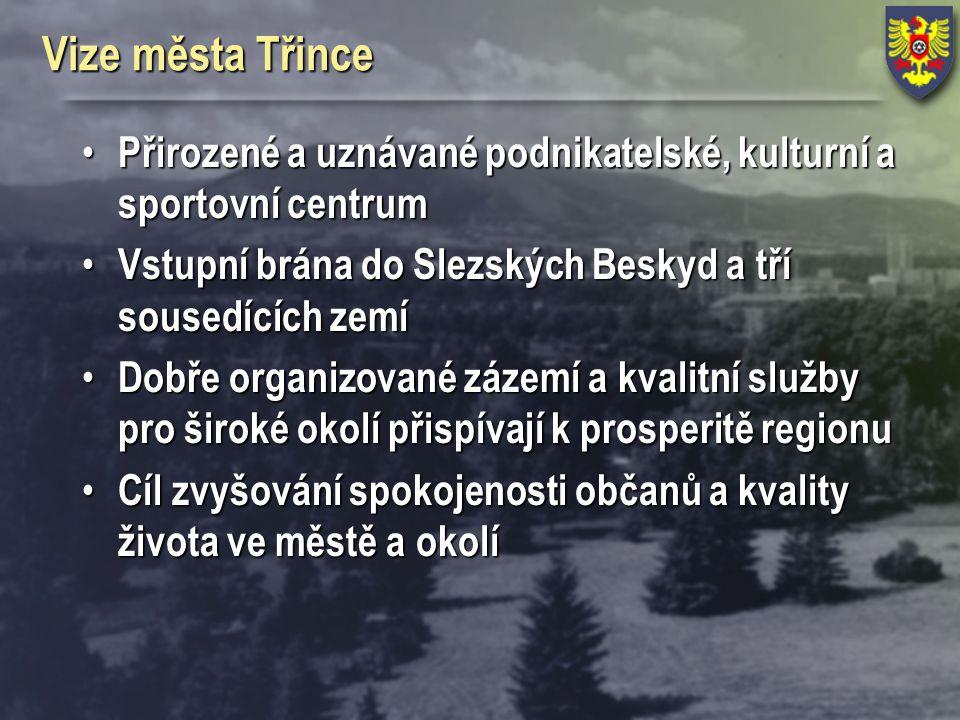 Vize města Třince Přirozené a uznávané podnikatelské, kulturní a sportovní centrum. Vstupní brána do Slezských Beskyd a tří sousedících zemí.