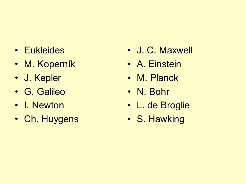 Eukleides M. Koperník. J. Kepler. G. Galileo. I. Newton. Ch. Huygens. J. C. Maxwell. A. Einstein.